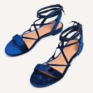 NWT Zara Blue Crush Velvet Lace Up Flat Sandals 9